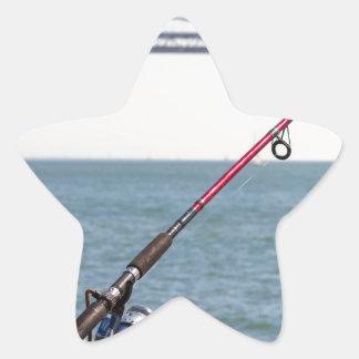 Adesivo Estrela Pesca Rod no cais em San Francisco Bay
