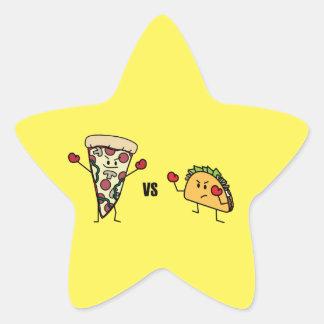 Adesivo Estrela Pizza de Pepperoni CONTRA o Taco: Mexicano contra