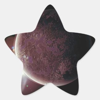 Adesivo Estrela planeta vermelho no universo com aura e estrelas