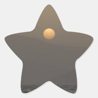 Adesivo Estrela Por do sol sobre montanhas da ilha de Paros
