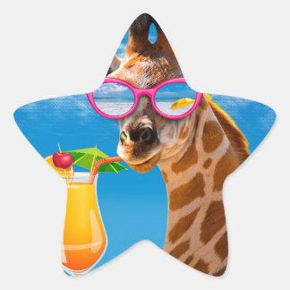 Adesivo Estrela Praia do girafa - girafa engraçado