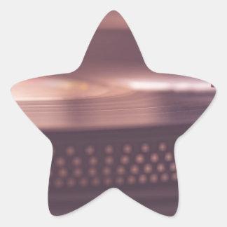 Adesivo Estrela Preto do equipamento do vinil do registro da