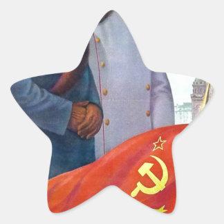 Adesivo Estrela Propaganda original Mao Zedong e Josef Stalin