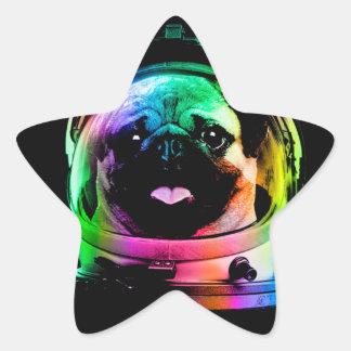 Adesivo Estrela Pug do astronauta - pug da galáxia - espaço do pug