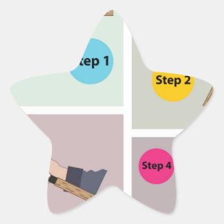 Adesivo Estrela Quatro etapas para moldar a haste de giro com