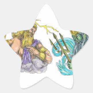 Adesivo Estrela Raio de Zeus contra o tatuagem de Poseidon Trident