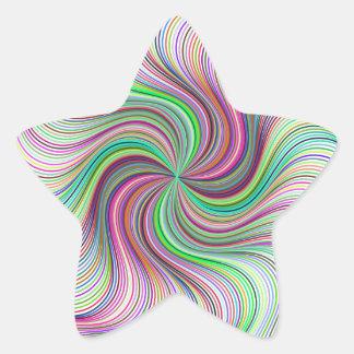 Adesivo Estrela Roda colorida do redemoinho de prisma do arco-íris