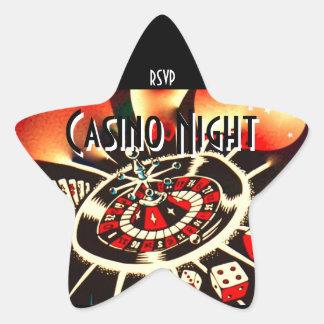 Adesivo Estrela Rsvp da estrela do partido da noite do casino