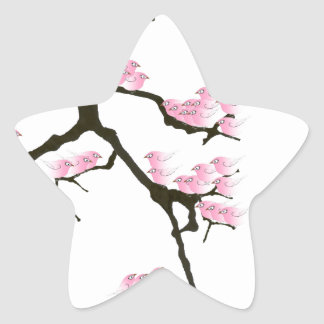 Adesivo Estrela sakura com os pássaros cor-de-rosa por fernandes
