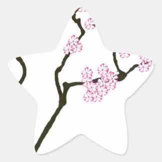 Adesivo Estrela sakura com pássaro verde, fernandes tony