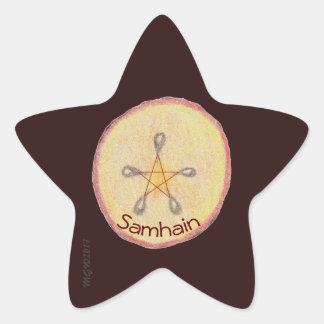 Adesivo Estrela Samhain Apple corta o Pagan de Wiccan da bruxa