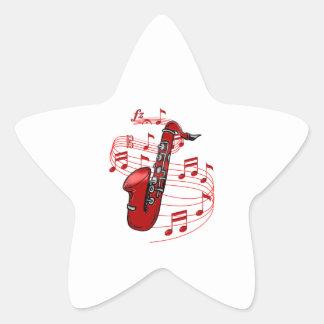 Adesivo Estrela Saxofone vermelho com notas da música