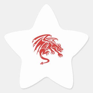 Adesivo Estrela Silhueta de agachamento da gárgula do dragão retro