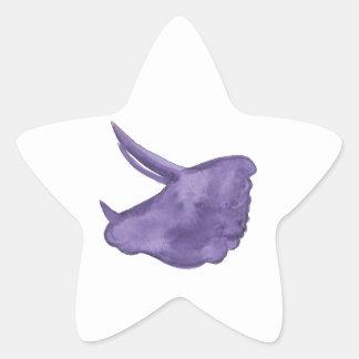 Adesivo Estrela Silhueta roxa do Triceratops