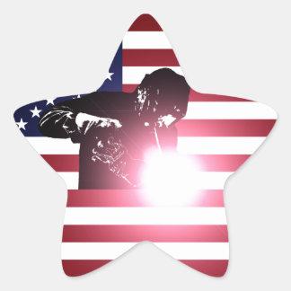 Adesivo Estrela Soldador e bandeira americana