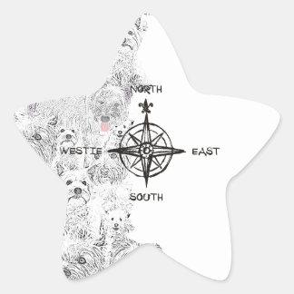 Adesivo Estrela Sudeste norte & cão de Westie
