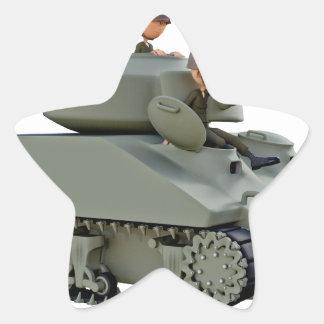 Adesivo Estrela Tanque e soldados dos desenhos animados na
