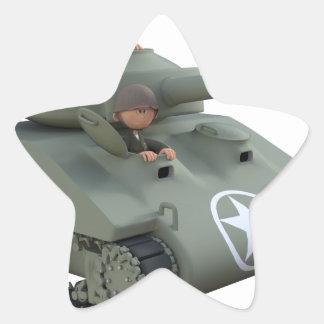 Adesivo Estrela Tanque e soldados dos desenhos animados que vão