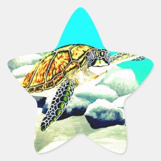 Adesivo Estrela Tartaruga de mar que pinta o mar azul bonito