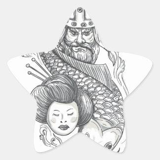Adesivo Estrela Tatuagem da cabeça da gueixa da carpa de Viking