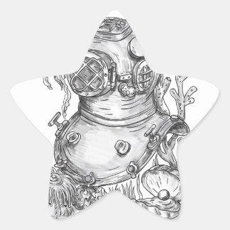 Adesivo Estrela Tatuagem do capacete do mergulho da velha escola