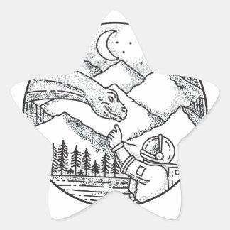 Adesivo Estrela Tatuagem do círculo da montanha do astronauta do