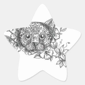Adesivo Estrela Tatuagem principal da flor do jasmim do gato