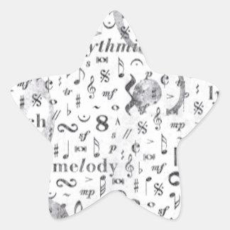 Adesivo Estrela Tema da música do teste padrão da nota da música