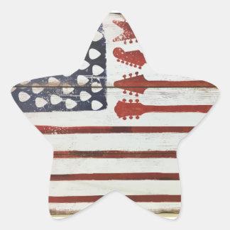 Adesivo Estrela Tema patriótico da música da guitarra da bandeira