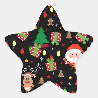Adesivo Estrela Teste padrão do papai noel e do Rudolph