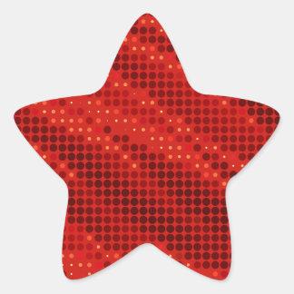 Adesivo Estrela Teste padrão vermelho vibrante do ponto & de onda