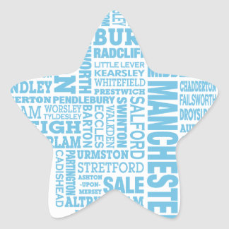 Adesivo Estrela Tipo azul mapa de maior Manchester