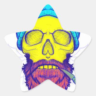 Adesivo Estrela Tubulação de fumo amarela do crânio