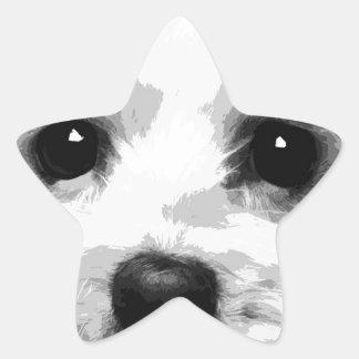 Adesivo Estrela Um maltês preto e branco