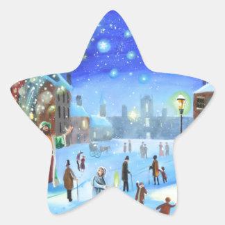 Adesivo Estrela Uma cena da rua do inverno de Scrooge da canção de