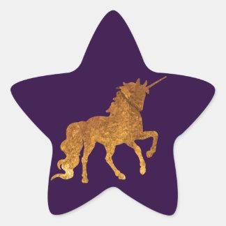 Adesivo Estrela Várias cores Prancing mágicas do unicórnio dourado