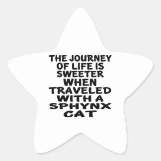 Adesivo Estrela Viajado com gato de Sphynx