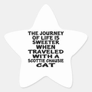 Adesivo Estrela Viajado com o gato do chausie do Scottie