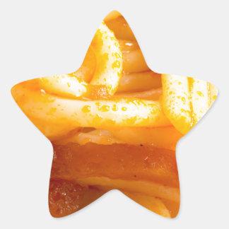 Adesivo Estrela Vista macro detalhada nos espaguetes cozinhados em