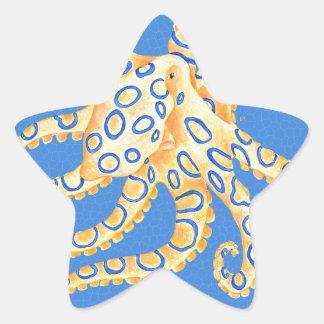 Adesivo Estrela Vitral azul do polvo