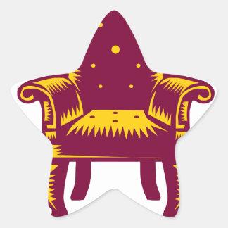 Adesivo Estrela Woodcut grande barroco da cadeira do braço