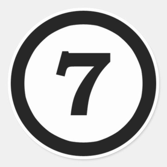 adesivo numero 7 sete , number seven