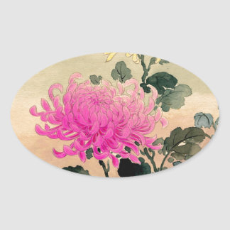 Adesivo Oval 土屋光逸 de Tsuchiya Koitsu - 菊 do crisântemo