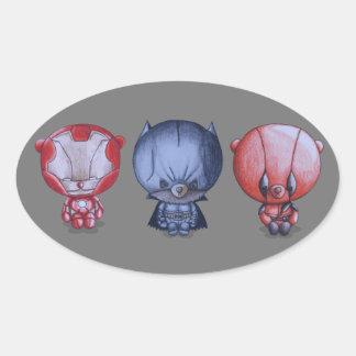 Adesivo Oval 3 heróis pequenos