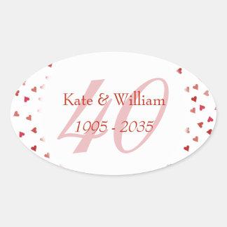 Adesivo Oval 40th Confetes dos corações do rubi do aniversário