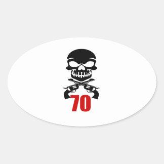 Adesivo Oval 70 designs do aniversário