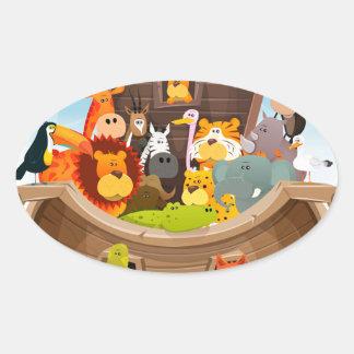 Adesivo Oval A arca de Noah com animais da selva