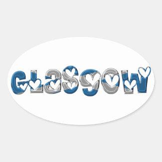Adesivo Oval A bandeira escocesa de Glasgow Scotland colore a