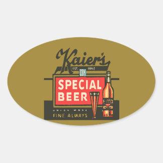 Adesivo Oval A cerveja especial de Kaier