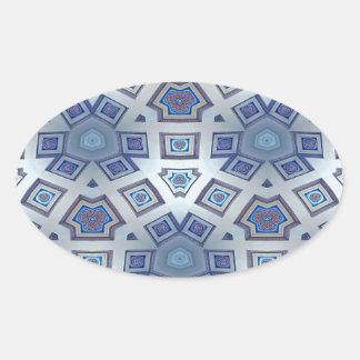 Adesivo Oval A engrenagem geométrica artística azul gosta do
